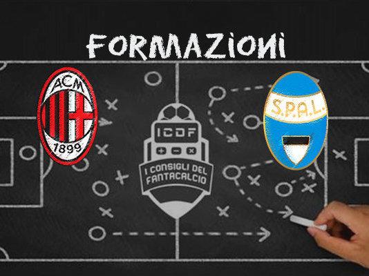 Milan SPAL Formazioni Ufficiali