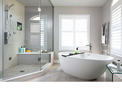Soaker, tub, moen, faucets, glass, shower, contemporary