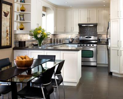 contemporary kitchen, under mount sink