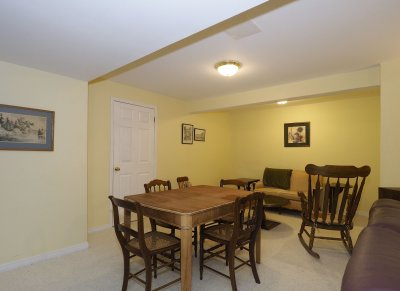 Basement furniture placement home staging after