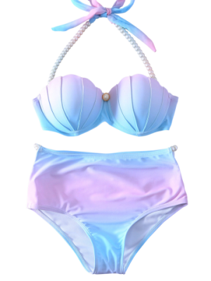 Halter Pearl Embellished Ombre Seashell Bikini Set - Blue And Pink