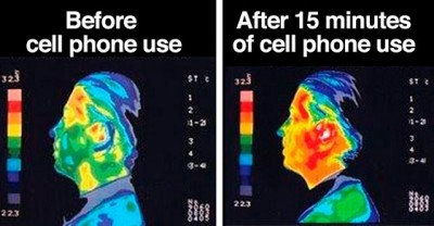 Cell phone use, before use, after use, thermography