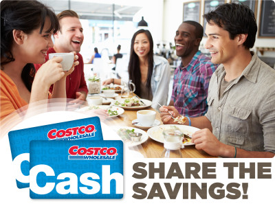 share the savings introduce a friend to costco receive a $10 cash card when they purchase a membership