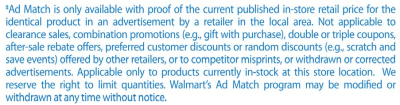 walmart ad match rules price match
