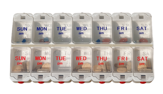 pill dispenser schedule remember daily weekly routine doctor nurse family support caregiver  loved one