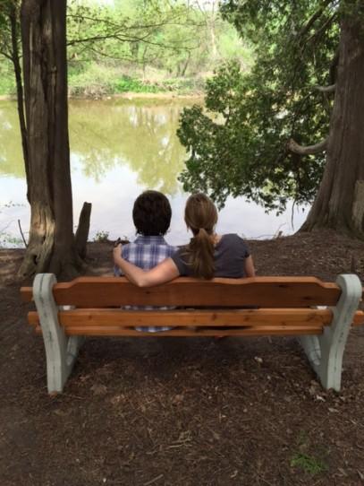 mom, park bench