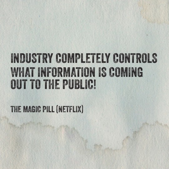 Industry completely controls what information is coming out to the public