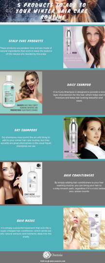 Products winter hair care routine infographics