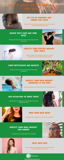 Top 9 Uses of Argan Oil for Hair Infographics