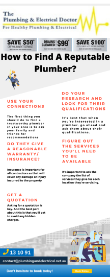 Infographic design on finding a reputable tradies plumber