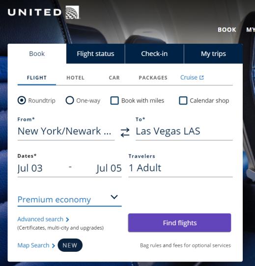 United Flight Search Form