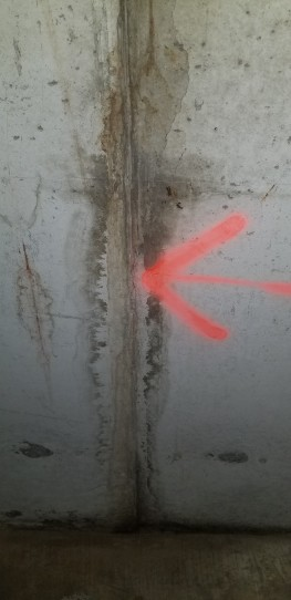 Crack in the poured concrete foundation