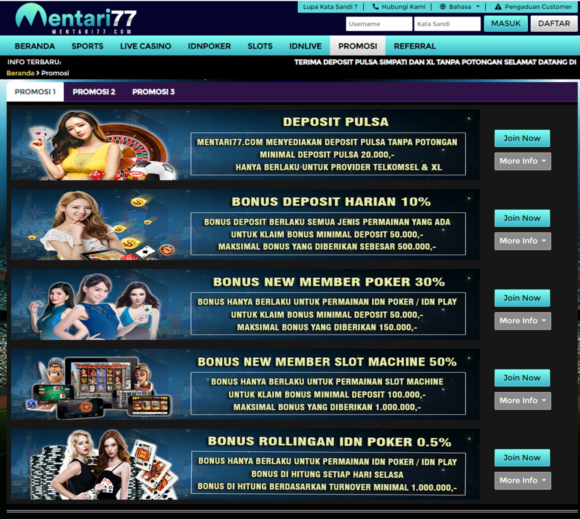 Situs Judi Penuh Promo Mentari77