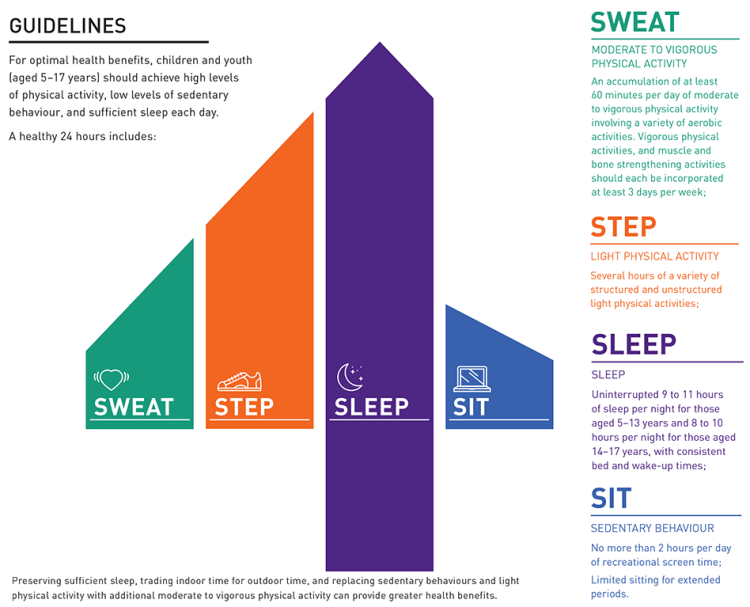 sweat, step, sleep, sit, children, youth, guidelines