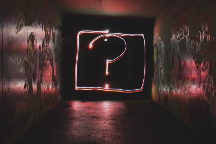 question mark, questioning, question, think, neon, sign, graffiti, neon sign