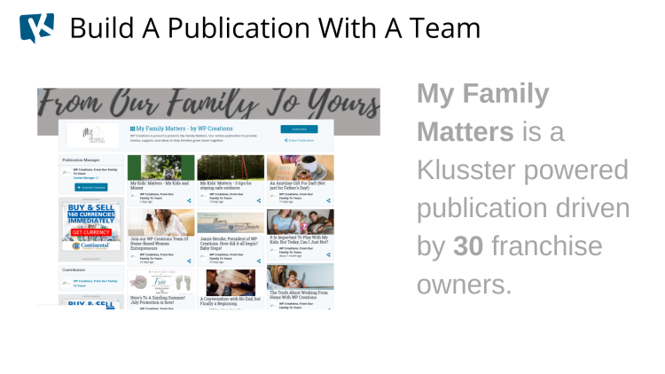 team, plubication, blog, klusster