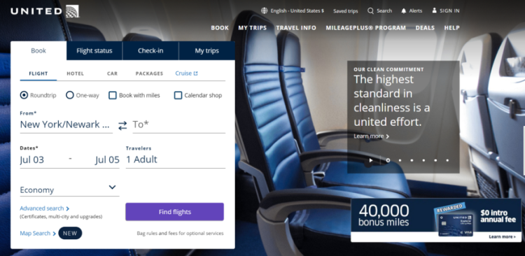 United Airlines Official Website