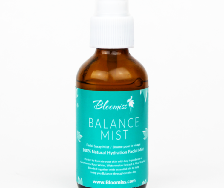 Bloomiss balance mist, energizing facial mist, energizing essential oil blend
