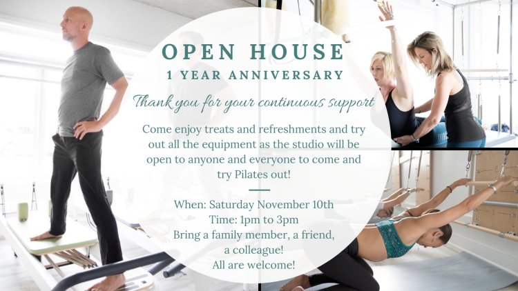 open house, pilates studio, pilates, Burlington, mat pilates, reformer pilates, Burlington pilates
