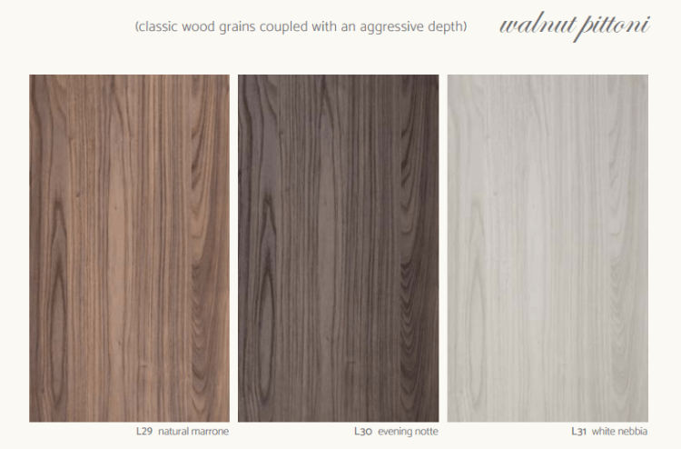 Walnut Pittoni - Classic wood grains coupled with an aggresive depth