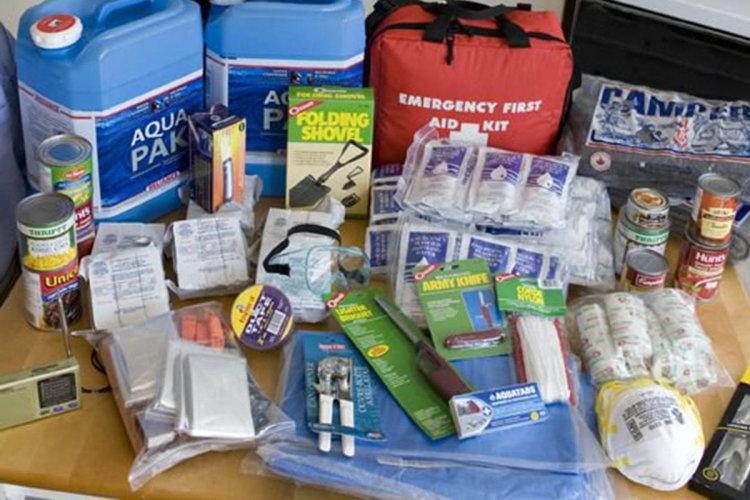 emergency kit, supplies, water, flashlight, storms,