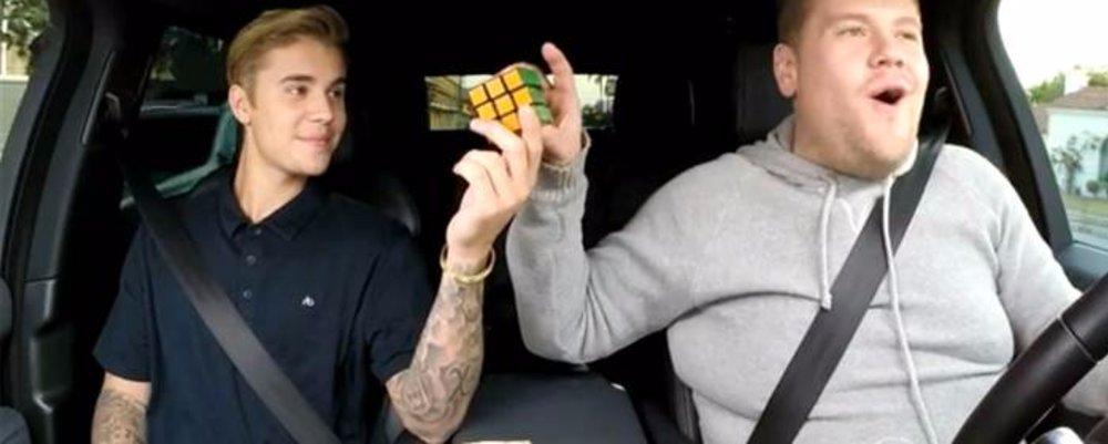 Carpool Karoke: Justin Bieber, Rubix Cube & James Corden