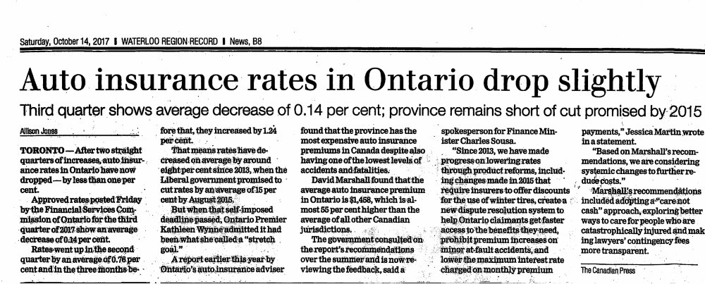 Have Ontario Auto Insurance Rates Really Dropped? And at what expense?