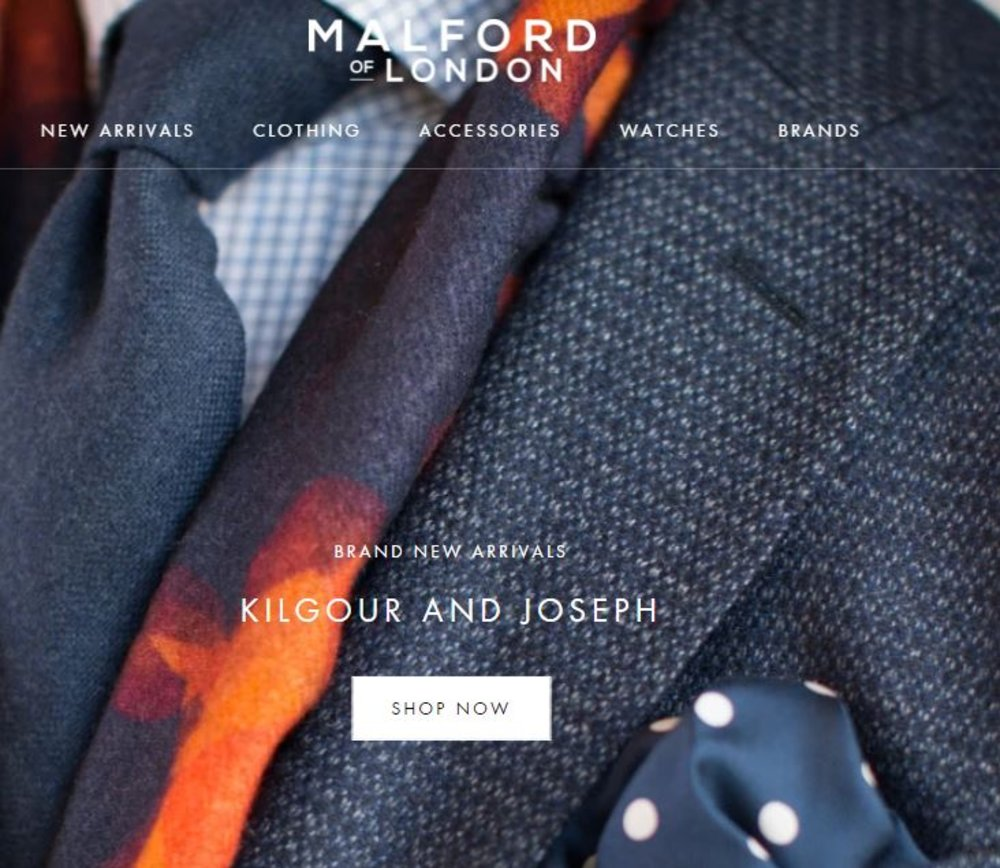 Enter contenShop for Saville Row shirts and socks from Malford oft title here...