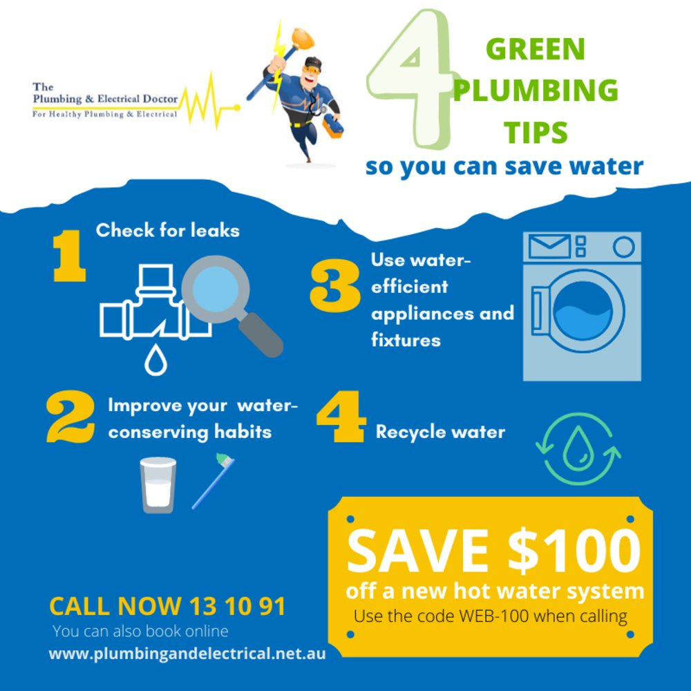 4 Green Plumbing Tips so you can Save Water