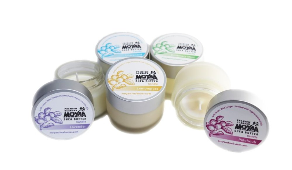 Beautiful Vegan Naturally Scented Candles by Moyaa Shea Butter
