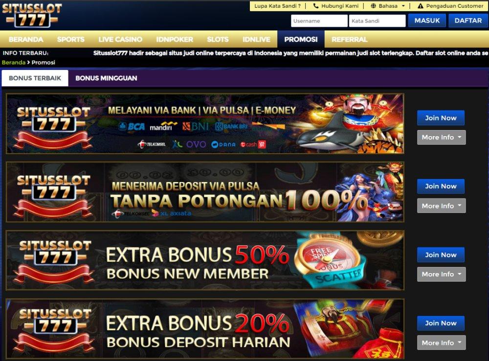 Situs Agen Slot Deposit Pulsa Tanpa Potongan