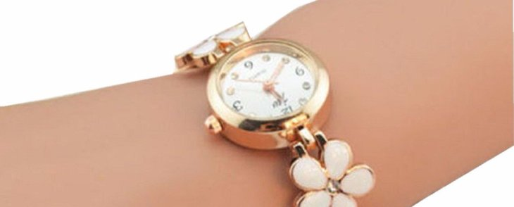 Gracie Says, Get your Daisies Flower Rose Gold Wrist Watch...