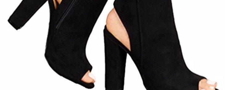 Huiyuzhi Womens Zip up Stacked Heels Ankle Booties