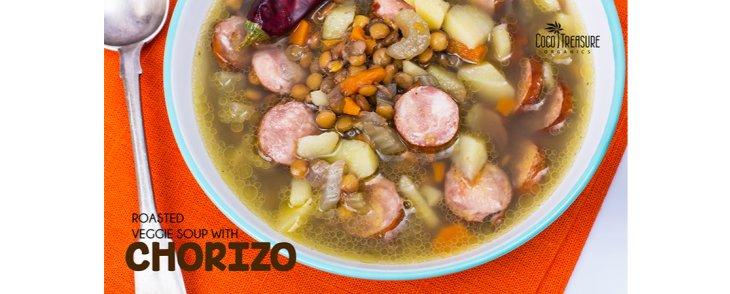 Roasted Veggie Soup with Chorizo