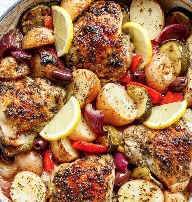 Lemon Herb Mediterranean Chicken + Potatoes (One Pot Recipe)