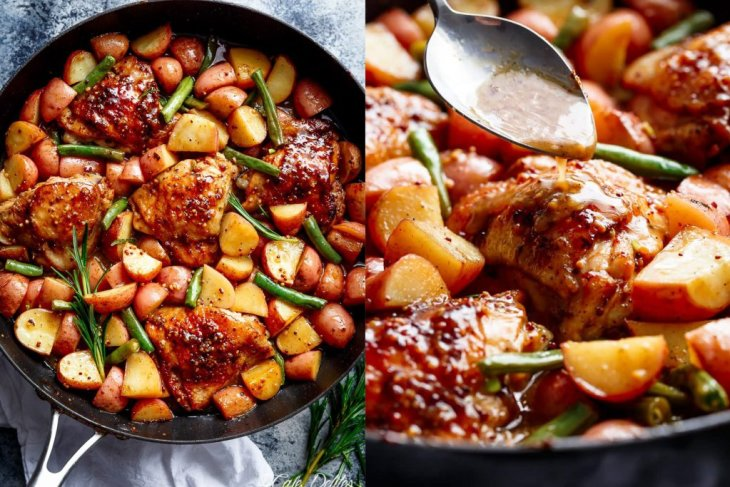 Honey Mustard Chicken, Potatoes and Green Beans (One-Pot)