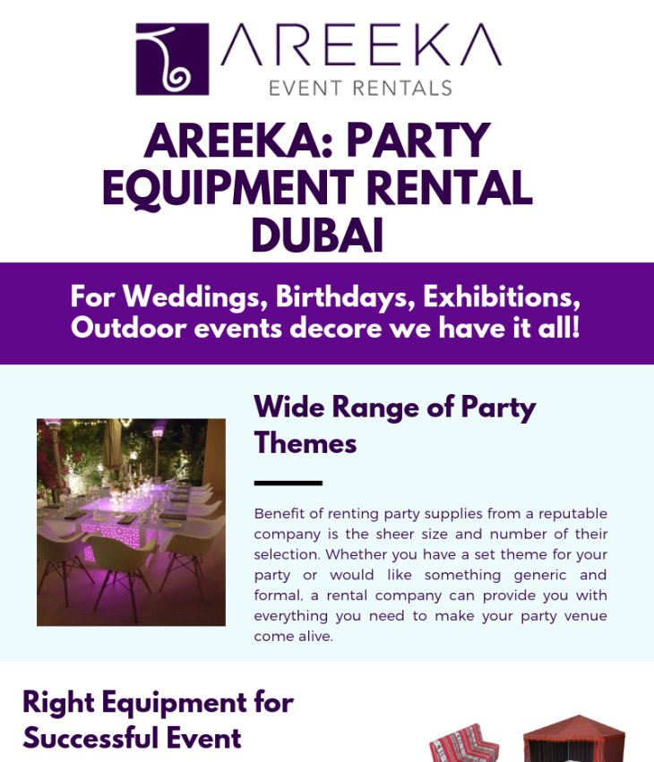Areeka - Party Equipment Rental Dubai