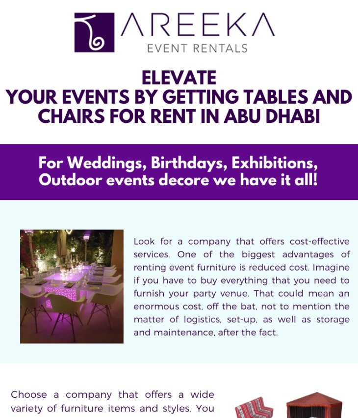 Elevate Your Events by Getting Tables and Chairs for Rent in Abu Dhabi