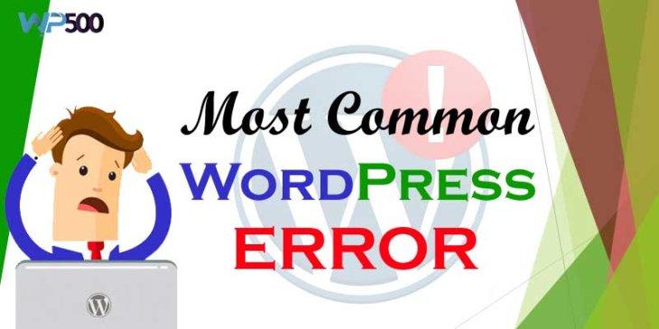 Most Common Error That We Facing in WordPress
