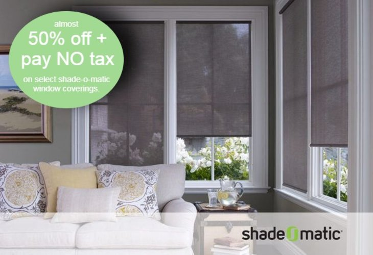 Take almost 50% off + pay NO tax on select Shade-0-Matic Window Coverings.