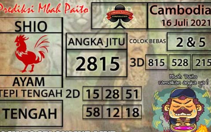 Prakiraan Togel Cambodia Jumat 16 Juli 2021