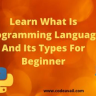 Who are new to this programming world, this blog is very helpful for those. In this, you will learn what is programming language and its types from programmers.