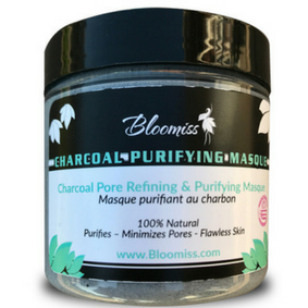 Charcoal pore refining face mask, Bloomiss skincare, minimizes pores, flawless skin