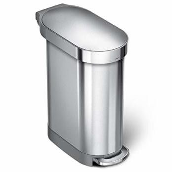 garbage can, simplehuman slim trash can, tiny home solutions