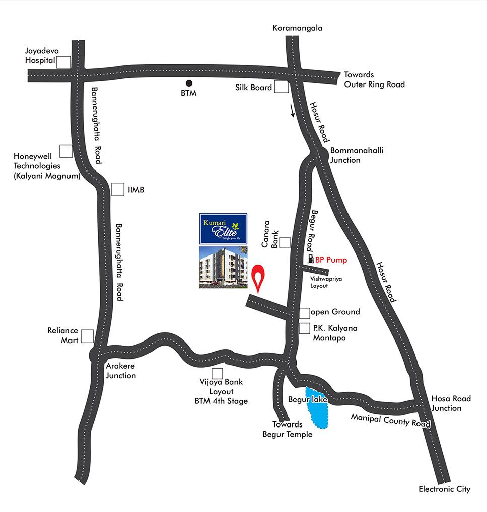 Master Plan, 2 BHK Flats for Sale in Electronic City Bangalore, Kumari Elite
