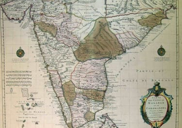 INDIA CARTE DES COTES DE MALABAR ET DE COROMANDEL