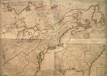 AMERICA NORTH EAST CARTE DES POSSESSIONS DES COLONIES ANGLAISES DANS LE CONTINENT DE L'AMERIQUE SEPTENTRIONALE ET PARTIE DE LA LOUISIANE