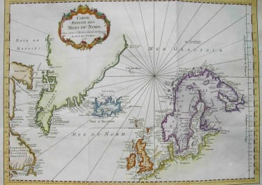 NORTHERN ATLANTIC GREENLAND SCANDINAVIA CARTE REDUITE DES MERS DU NORD