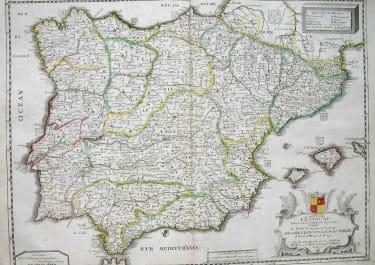 SPAIN L'ESPAGNE DIVISEE EN SES PRINCIPAUX ROYAUMES