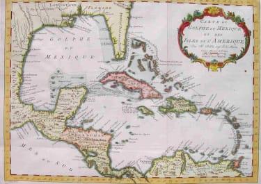 WEST INDIES CARTE DU GOLPHE DU MEXIQUE ET DES ISLES DE L'AMERIQUE